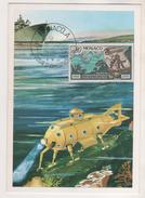CARTE MAXIMUM MONACO 1971 - UN SOUS MARIN, UN BATEAU - BUREAU HYDROGRAPHIQUE INTERNATIONAL - A VOIR - Naturaleza