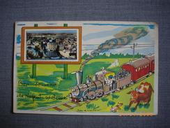 """NOGENT SUR SEINE  -  10  -  Illustration   """" LE TRAIN """"  - Bon Souvenir De Nogent Sur Seine  -  AUBE - Nogent-sur-Seine"""
