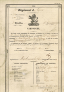 CARTOUCHE Regiment De Ligne Habitant De Gemmenich  Delivre à Namur - Dokumente