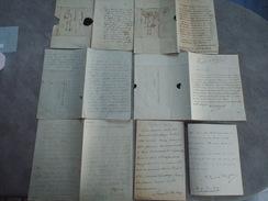 Lot De 7 Lettres Anciennes 19è Siècle à Identifier - Documents Historiques