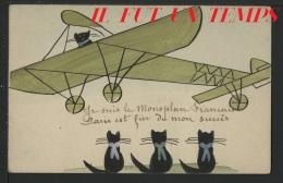 UN BLERIOT AVEC PETITS CHATS !! - CPA FAIT A LA MAIN - Ecriture à Identifier Sur CPA - Aviation