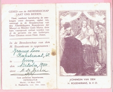 Bidprentje - KONINGIN VAN DEN H. ROZENKRANS, B. V. O. - Jeanne LOOS Kerstraat,60 ESSEN - 1950 - Images Religieuses
