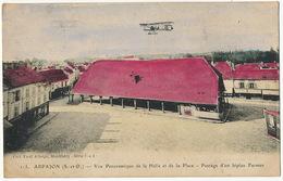 Arpajon Vue Panoramique De La Halle Et De La Place Passage Biplan Farman Colorisée Edit Paul Allorge Monthlery - Arpajon