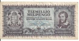 HONGRIE 10 MILLION MILPENGO 1946 VG+ P 129 - Hongrie