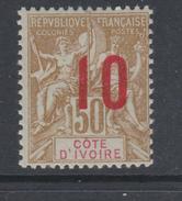 Cote D´Ivoire N° 39  XX Type Groupe Surchargé 10 Sur 50 C.  Bistre Sur Azuré, Sans Charnière, TB