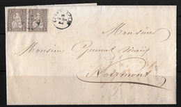 1862-1881 SITZENDE HELVETIA (gezähnt)  → Brief Nach NOIRMONT ►2x SBK-30, COURRENDLIN 10.VIII.64◄ - 1862-1881 Helvetia Assise (dentelés)