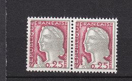 FRANCE 1263 MARIANNE DE DECARIS PAIRE  GRIS DECALE  LUXE NEUF SANS CHARNIERE - 1960 Maríanne De Decaris