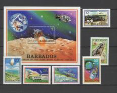 Barbados 1979 Space Apollo 11 Set Of 6 + S/s MNH - Space