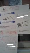 Lotto Di Circa 100 Buste Con Affrancature Meccaniche Rosse O Annulli Adesivi, Ecc. - Lotti E Collezioni