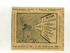 PETITE PUB DOUBLE FACE DE 1922 . CINEMATOGRAPHE DE SALON LE MELIOR . - Photographica