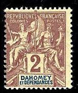 DAHOMEY 7** 0,02f Lilas-brun Sur Paille - Unused Stamps