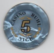 Jeton De Casino Ruhl Nice 5 Francs (Numéroté 3012 - Diamètre 39 Mm) - Casino