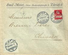 """Motiv Brief  """"Emil Meier, Zürich"""" - Chiasso              1915 - Suisse"""