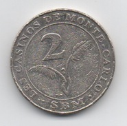 Jeton Des Casinos De Monte-Carlo SBM : 2 Euros (Diamètre 26 Mm) - Casino