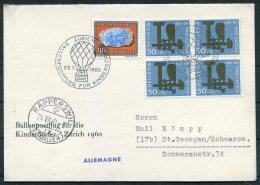 1960 Switzerland Ballon Flugpost Card. Zurich Rapperswil Kinderdorfer Charity Pro Patria Owl Flight - Covers & Documents
