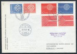 1961 Switzerland Ballonflug Balloon Flight Cover. Zurich - Pfaffikon EUROPA Wocke - Covers & Documents