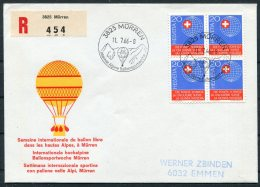 1966 Switzerland Ballonflug Balloon Flight Registered Cover. Murren International Alpine Sports Week - Covers & Documents
