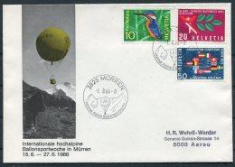 1966 Switzerland Ballonflug Balloon Flight Cover. Murren International Alpine Sports Week - Covers & Documents