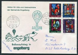 1971 Switzerland Ballonflug Balloon Flight. Quinto Engelberg Pro Patria Signed Angel Cover - Covers & Documents