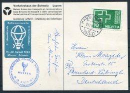 1974 Switzerland Ballonflug Balloon Flight. Murren Alpine Sports Ausstellung Luftfahrt Postcard - Suisse