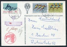 1973 Switzerland Ballonflug Balloon Flight. Grindelwald Signed Postcard - Switzerland
