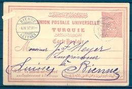 1892 , TURQUIA , ENTERO POSTAL P 16 CIRCULADO ENTRE ESMIRNA Y BIENNE ( SUIZA ) , LLEGADA - 1837-1914 Smyrna