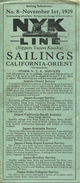 NYK Line (Nippon Yusen Kaisha) Sailings California-Orient 1929 - Fahrplan Von Jannuar 1930 Bis Dezember 1930 - World