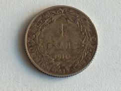BELGIQUE 1 FRANC F 1910  ARGENT SILVER Belgium - 07. 1 Franc