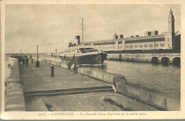 CHERBOURG..la Nouvelle Gare Maritime Et La Petite Jetée...non Voyagée...animée Bateau......14 X 9 - Cherbourg