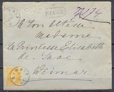 1881 , RUMANIA , CERTIFICADO SINAIA - WEIMAR , DIRIGIDA A SU  ALTEZA LA PRINCESA ELISABETH DE SAXE , LLEGADA - 1881-1918: Charles Ier