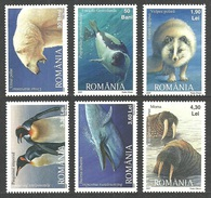 ROMANIA 2007 POLAR FAUNA BIRDS PENGUINS BEARS WHALE SEAL WALRUS FOX SET MNH