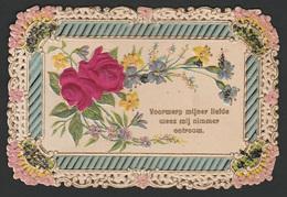 Mignonette Gaufrée Paillettes Roses En Relief 11 X 7 Cm - Fêtes - Voeux