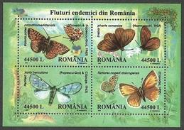 ROMANIA 2002 BUTTERFLIES BUTTERFLY M/SHEET MNH