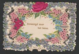 Mignonette Gaufrée  Paillettes Roses En Relief 10.5 X 7 Cm - Fêtes - Voeux