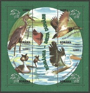 ROMANIA 2004 WATERBIRDS HERON GREBE PELICAN MALLARD UPU M/SHEET MNH