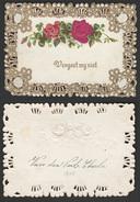 Mignonette Gaufrée Roses En Relief   11 X 8 Cm - Fêtes - Voeux