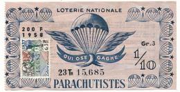 """Billet De Loterie Nationale - Dixième - """"Parachutistes"""" - 1958 - - Loterijbiljetten"""