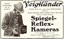 Original-Werbung/ Anzeige 1907 - VOIGTLÄNDER SPIEGELREFLEX - KAMERA / BRAUNSCHWEIG -  Ca. 130 X 80 Mm - Publicités