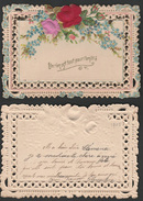 Mignonette Gaufrée Roses En Relief 11 X 8 Cm  1905? - Fêtes - Voeux