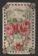 Gaufrée Dentelle  Roses  Duif Pigeon Blanc Colombe En Relief 14 X 9 Cm - Anniversaire