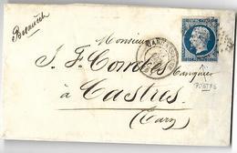Lettre Du 27 Juin 1857  De Carcassonne Vers Castres   Variété Postfs Du N° 14 A - 1853-1860 Napoleon III