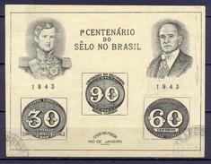 BRESIL - BRAZIL - 1943 - 1er Centenaire TP Du Brésil - YT BF 06  - (o) - Blocks & Kleinbögen