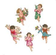 5 PETITS  CHROMOS  DECOUPIS  GAUFFRES  ANGELOTS - Anges