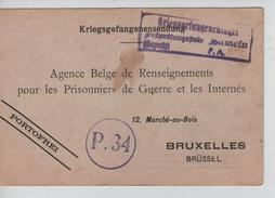 CP En Franchise Datée De Hanovre 2/1/1917 En Franchise Réception D'un Colis Censure Du Camp V.Bruxelles PR3774