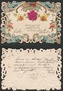 Mignonette Gaufrée Roses En Relief Dorée Paillettes 11.5 X 8 Cm - Fêtes - Voeux