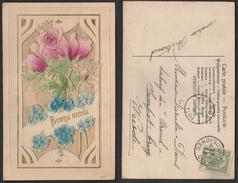 Gaufrée Roos Roses Relief  1908 - Nouvel An