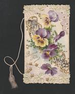 Gaufrée Doréee  Relief Paillettes Viooltjes  Violet  15 X 8.5 Cm  1899? - Nouvel An