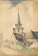 Autographe Artiste Peintre - Village De Mayenne 53 - église De VAIGES 1924- JULIEN PERREY - 26 X 17,5 Cm - Aquarelles