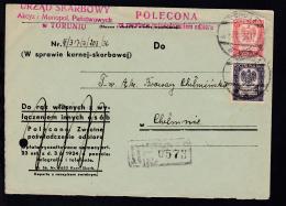 Wappen 2 Werte Auf R-Brief Des Finanzamt Torun Ab Torun 3.IX.36 Nach Chelmno, - Dienstpost