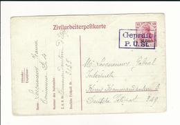 """Etapes, 1918 , Zivilarbeiterpostkarte  """" Geprüft P.Ü.St.  """" Lila  #6462 - Guerre 14-18"""